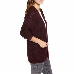 BP. Boucle Red Black Marled Cardigan Sweater NWT